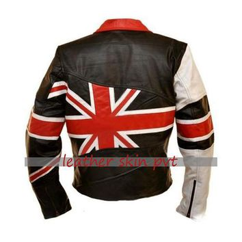 Leather Skin Men Union UK Flag Patriotic Black Premium Genuine Real Leather Jacket