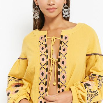 Selfie Leslie Tribal-Inspired Medallion Print Top