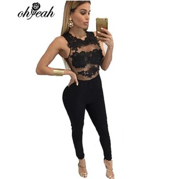 RS80235 New arrival Full Length Sleeveless Two color red black Sheer Jumpsuit Skinny sexy Bodysuit women solid see through roper