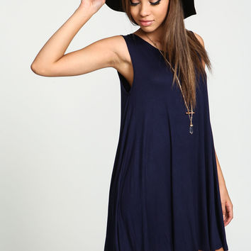 Navy Jersey Sleeveless Slip Dress