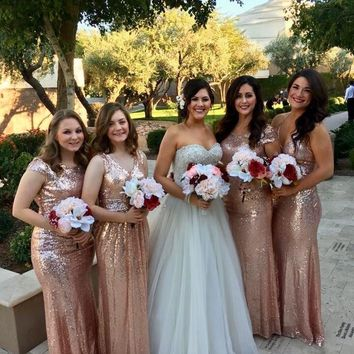 Real Clients Show vestido de festa longo Long Rose Gold Sequined Mermaid Bridesmaid Dresses with Multi Style Party Ball Dresses