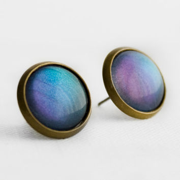 Blue and Purple Shimmer Post Earrings in Antique Bronze - Sky Blue and Purple Shifting Colour Shifting Studs