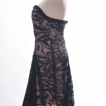 Black Bandeau Embroidery Lace Overlay Dress
