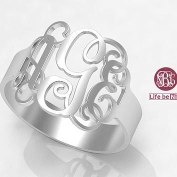 925 Sterling silver Ring,Monogram Ring,Bridesmaids Ring,Personalized Ring,Monogram Jewelry ,Monogrammed Sterling Silver Rings,Engraved Ring