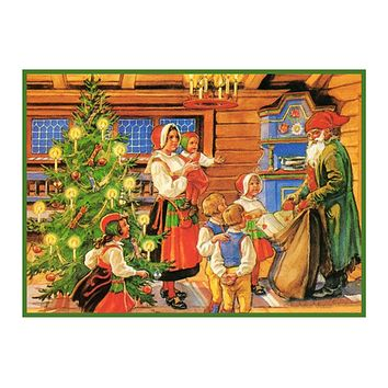 Nordic Christmas Celebration with Children Jenny Nystrom  Holiday Christmas Counted Cross Stitch Pattern