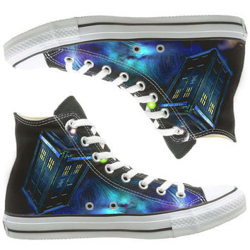 Galaxy Converse dr who painted shoes, custom shoes by natalshoes