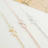 tiny small cute bow anklet  CHOOSE ONE gold / silver / rose gold