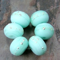 Etched Mint Green Kryptonite Handmade Lampwork Glass Beads Fine Silver