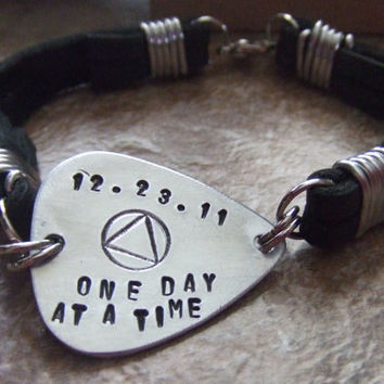 Personalized Guitar Pick Leather Bracelet - Handstamped AA Symbol - One Day at a Time - Recovery Jewelry Serenity