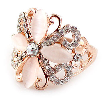 Light Pink Floral Bead Ring