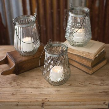Glass Lanterns With Wire Handles (Set of 3)