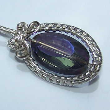 Minimalist Wire Wrapped Pendant, Purple Electroplated Glass Bead , OOAK Pendant, Stone Setting