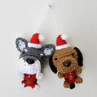 Dog Christmas Ornament Santa Outfit Amigurumi Puppy Stocking Stuffer Crochet Dog -- Choose a Breed / Made to Order