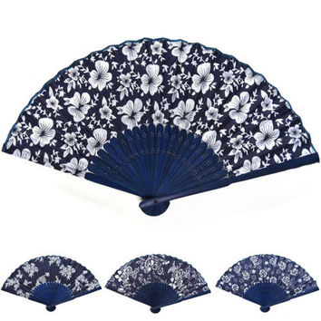 Chinese Summer+Bamboo+Folding Fabric Dancing HAND FAN Gift Decor Collection USHU