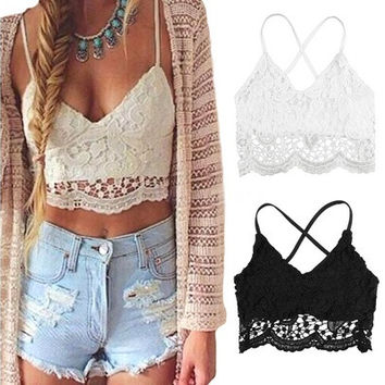 New Sexy Women Crop Top Crochet Lace Deep V Neck Spaghetti Strap Backless Tank Camisole Bralette Black/White [9222505220]