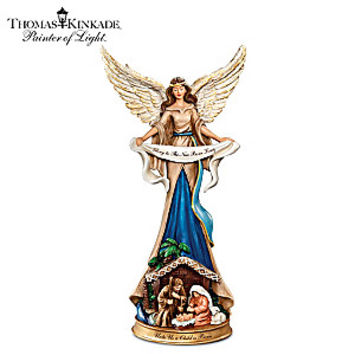 Thomas Kinkade Angel Figurine And Holy Family Nativity Scene