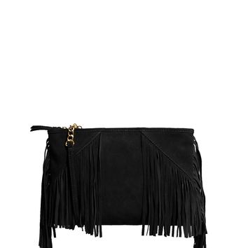 ASOS Leather Clutch Bag With Tassels