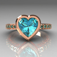 Classic Bridal 14K Pink Gold 2.10 Carat Heart by artmasters