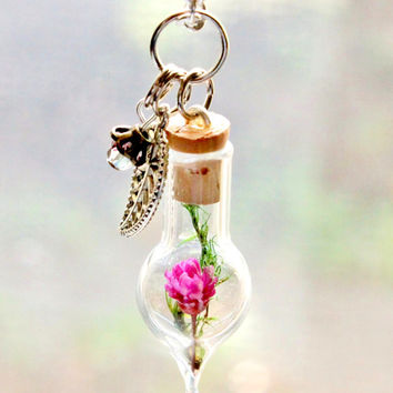 Purple Flower and Moss Terrarium Necklace Nature Jewelry, Czech Bead, Leaf Charm, Fairy Garden Necklace, Silver Plated Chain