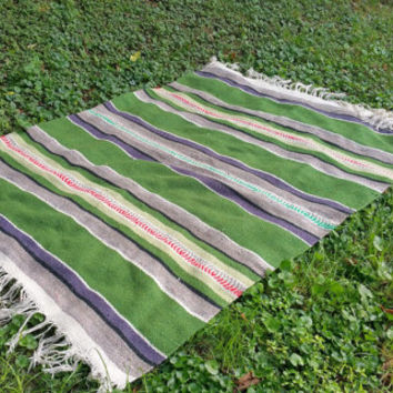 Vintage Hand Woven Wool Native American Blanket Green Gray Stripe