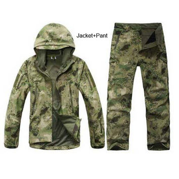 TAD Stalker Fishing Waterproof SoftShell Outdoor Jacket Shark Skin Military Camouflage Hunting Jackets Set Sport Army Clothes S6