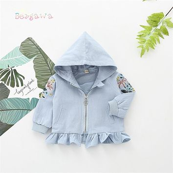 Spring Baby Infants Girls Kids Ruffles Embroidery Flora Hooded Long Sleeve Jackets Princess Cardigan Outwear Coat Casaco S6256