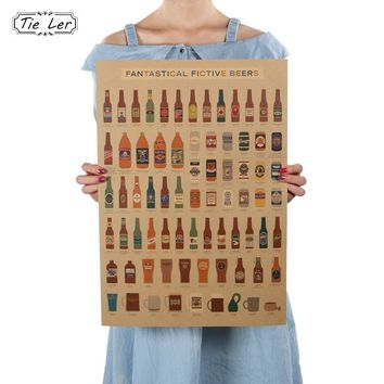 Beer Encyclopedia of Graphic Evolutionary History Bar Counter Kitchen Retro Vintage Poster