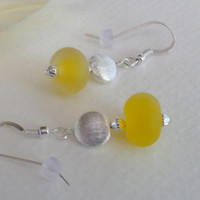 Jewelry, Etched Lampwork Bead Earrings in Yellow, Statteam