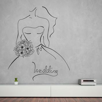 Large Vinyl Decal Wall Sticker Wedding Contour Sketch Bride with Bouquet (n1002)