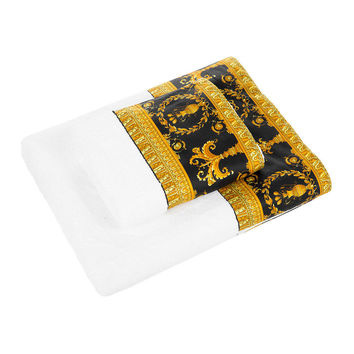 Buy Versace Home Barocco&Robe Towel - White/Gold/Black - Face Cloth | Amara