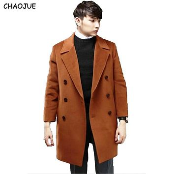 CHAOJUE cashmere overcoat male 2016 loose 6XL woolen outerwear long sleeve classic camel blends jacket Korean Boys winter coat