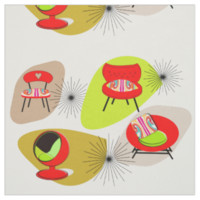 Mid Century Modern Retro Style Chair Illustrations Fabric