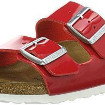 Birkenstock ARIZONA Ladies Dual Buckle Slip On Sandals Patent Tango Red