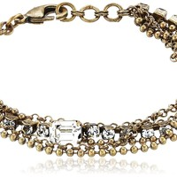 """Sorrelli Crystal Clear Gold-Tone Multi-Strand Crystal and Chain Bracelet, 6.5"""""""