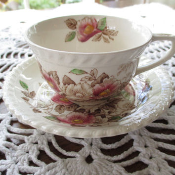 Johnson Bros. Windsor Ware Tea Cup & Saucer - The Marquis Pattern