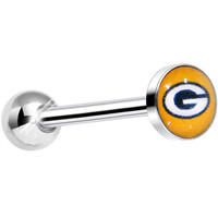 Officially Licensed NFL Green Bay Packers Barbell Tongue Ring | Body Candy Body Jewelry