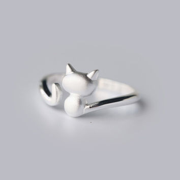 Lovely cat 925 sterling sliver ring,simple fashion cat ring,a perfect gift