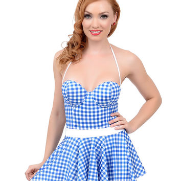 Vintage 1950s Style Pin-Up Blue & White Gingham Fit N Flare Bandeau Swimsuit