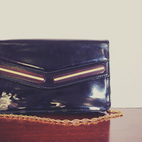 Vintage Black Vinyl Purse / Clutch with Gold-tone Metal Chain and Snap Closure - Circa 1980s - Great Condition