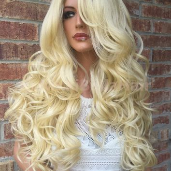 Light Blonde Carla Multi Parting Human Hair Blend Lace Wig 24""