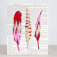 Feather Study No. 1, Pink and Gold Ikat Feathers Over a Vintage Book Page Background, Nature Study, Natural History, Original Collage 8x10