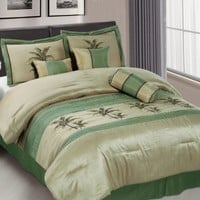 Chezmoi Collection 7-Piece Sage Green Embroidery Palm Tree Comforter Set, Bed in a bag for Queen Size Bedding