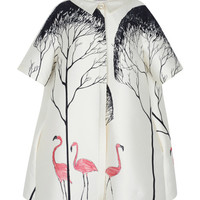 Blouson Dress With Flamingo Tree Pattern by Vika Gazinskaya for Preorder on Moda Operandi