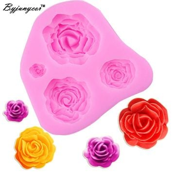 Byjunyeor M025 3D Rose Flower Silicone Mold Fondant Cake Decorating Chocolate Cookie Soap Fimo Polymer Clay Resin baking molds