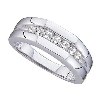 14kt White Gold Mens Round Channel-set Diamond Flat Surface Wedding Band 1/2 Cttw - FREE Shipping (US/CAN)