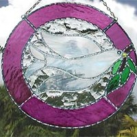 Peace Dove Suncatcher - Stained Glass Sun Catcher - Mauve Border - 8""