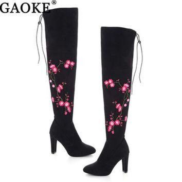 DCK7YE Embroidery Flower Boots Autumn Winter Boots Fashion Lady High Heel Long Boots Embroide