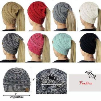 DCCKM83 Fashion Women's Girls Stretch Knitted Wool Crochet Hats Caps Messy Bun Ponytail Beanie Holey Warm Hat Winter Warm Cap Beanies