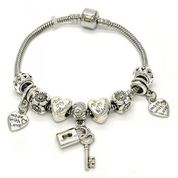 Rhodium Layered 03.299.0003.08 Charm Bracelet, key and Lock Design, Polished Finish, Rhodium Tone