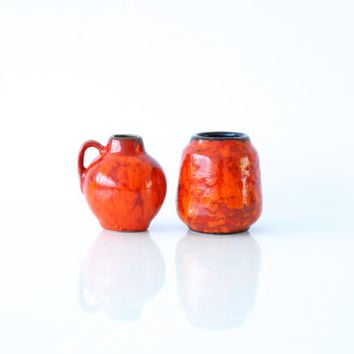 WEST GERMAN POTTERY 2 Tiny Vases, Miniature, Scheurich, Bright Fiery Orange Red, 414-7, Mini Collection, 1970s 1960s Retro, Made in Germany